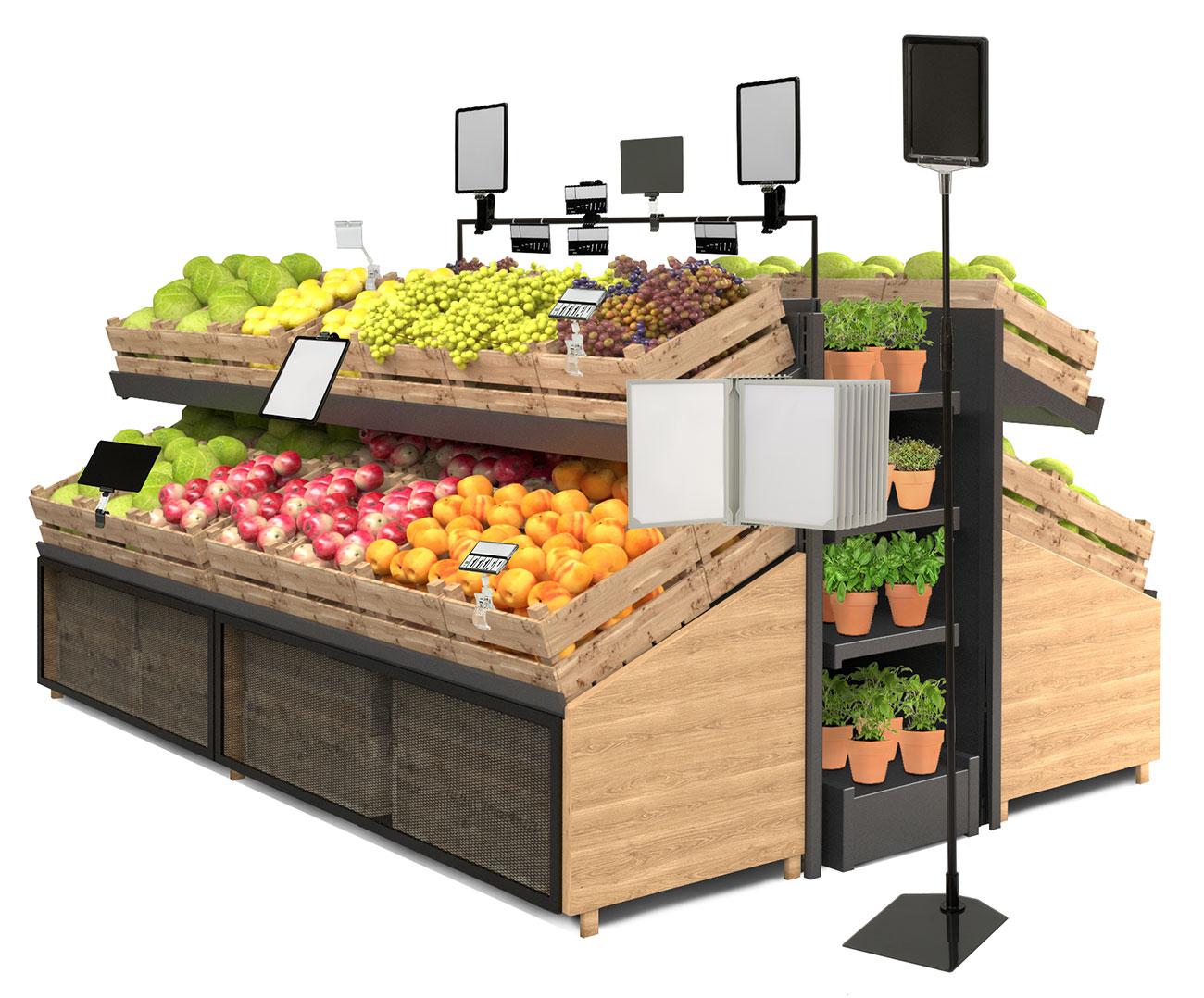 kasetki cenowe, stojaki, tabliczki cenowe na reglae z owocami